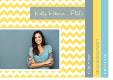 Graduation Invitation Yellow, Blue and Gray Chevron