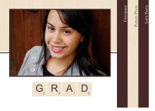 Graduation Invitation Brown Wood Grain Scrabble