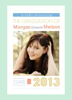 Graduation Announcement Mint Block Type