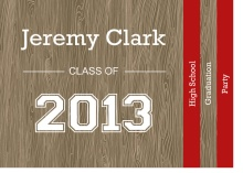 Graduation Invitation Red and Wood Grain