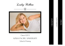 Nursing Graduation Announcement Simple Black and White Booklet