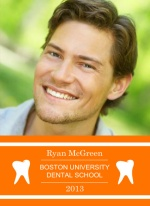 Orange and White Dental Graduation Quadfold