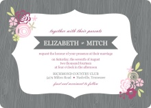 Gray and Pink Floral Frame Wedding Invitation