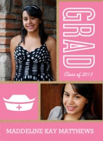 Graduation Announcement Kraft Paper Pink and White