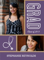 Graduation Announcement Kraft Paper Purple and White