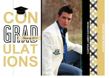 Graduation Invitation Black and Gold Gingham