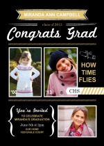 Graduation Invitation Gold and Black Modern Accents