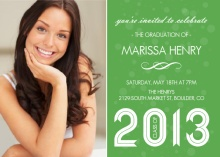 Sophisticated Green  Graduation Invitation