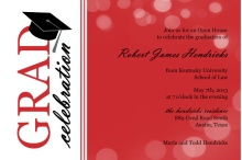 Law School Graduation Invitation Red Bubbles