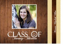 Law School Graduation Announcement Gold and Wood Grain