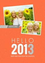 Gray and Orange Hello 2013 New Years Card