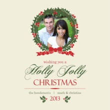 Red Holly Jolly Wreath Christmas Photo Card