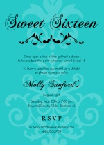 Teal and Black Flourish Sweet 16 Birthday Invitations