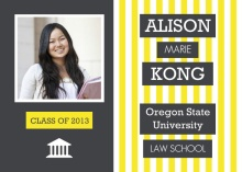Law School Graduation Invitation Gray and Yellow Stripes