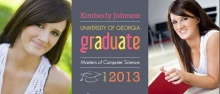 Graduation Invitation Gray and Pink Graduate