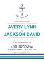Anchor Navy and Teal  Wedding Invitation