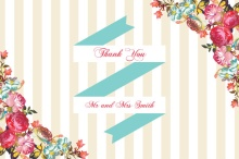 Floral Tan Stripes Wedding  Thank You