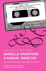 Pink and Gray Mixed Tape  Wedding Invitation
