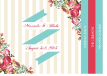 Floral Tan Stripes Wedding  Program Booklet