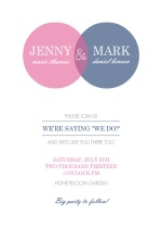 Pink and Blue Circles Wedding  Invitation