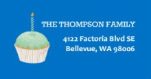 Blue Shhh Cupcakes  Address Label