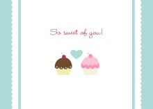Cupcake Wedding  Thank You Card