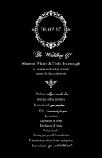 Black and White Elegant Monogram  Wedding Program