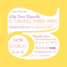 Yellow Big Number Three Kids Birthday Invitation