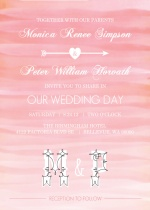 Pink Ombre Watercolor  Wedding Invitation