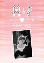 Pink Ombre Watercolor  Wedding Thank You Card