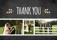 Chalkboard Country Floral  Wedding Thank You Card