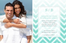 Turquoise Chevron Ombre  Wedding Invitation