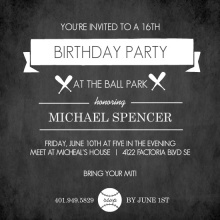 Black Chalkboard Baseball Banner Birthday Party Invitation