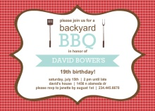 Checkered BBQ Birthday Invitation