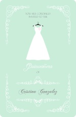 Mint Green Quinceanera Dress Invitation
