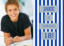 Blue and Gray Stripes Teen Birthday Invitation