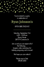 Black and Green Confetti Birthday Invitation