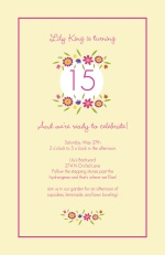 Cream and Pink Flower Wreath Birthday Invitation