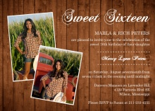 Golden Woodgrain Photo Sweet Sixteen Invitation