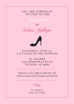 Pink and Black Heel Quinceanera Invitation