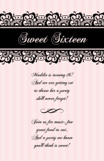 Pale Pink with Black Lace Sweet Sixteen Invitation