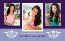 Purple and White Crown Photo Quinceanera Invitation
