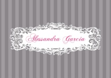 Gray and Pink Striped Quinceanera Invitation