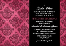 Pink and Black Grunge Damask Quinceanera Invitation