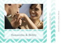 Turquoise Chevron Ombre  Wedding Thank You Card