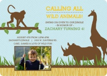 Blue Jungle Animals Safari Birthday Invitation
