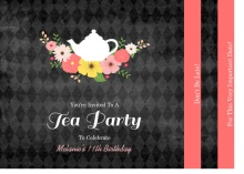 Chalkboard Flowers Elegant Tea Party Birthday Invitation