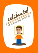Orange Lego Teen Birthday Party Invitation