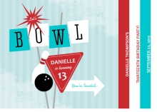 Turquoise and Red Retro Bowling Party Invitation