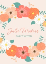Pale Pink Country Floral Sweet Sixteen Invitation